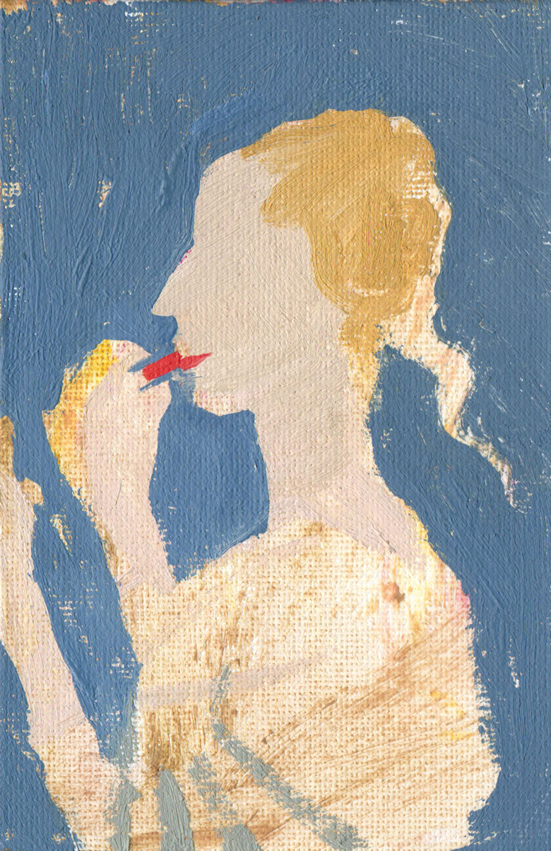 14-lady-applies-lipstick-after-baldovinettis-portrait-of-a-lady-in-yellow-of-1465-oil-on-canvas-23-x-28cm-2012
